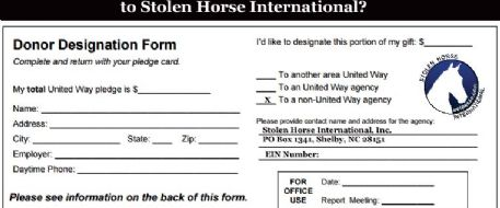 Donate To Stolen Horse International At Work Through United Way