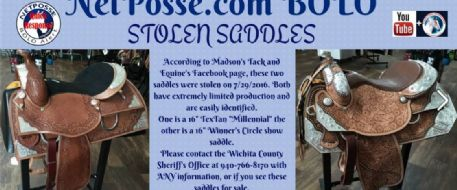 Rare Horse Saddles Stolen in Texas