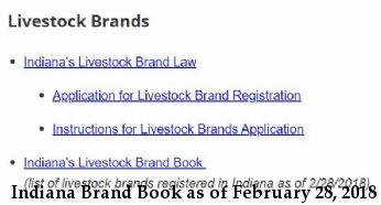 Indiana Brand Book as of February 28, 2018