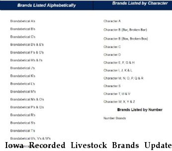 Iowa Recorded Livestock Brands Updated 09/07/2018