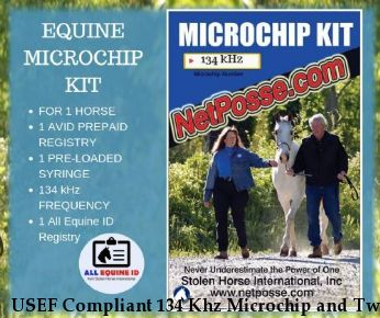 USEF Compliant 134 Khz Microchip and Two Registrations for 1 horse