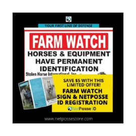 ON SALE! FARM WATCH Security Sign and NetPosse ID Registry Combo
