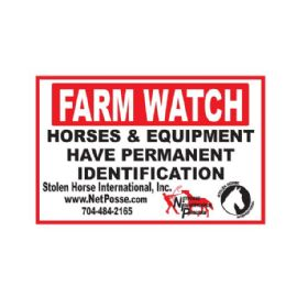 FARM WATCH Security Sign for Horse Farms