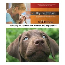 Avid Microchip Kit with Registry for Pet - Avid PETtrac Pre-Paid Registration