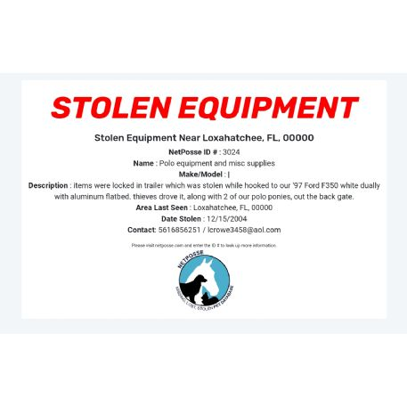 STOLEN Equipment - Polo equipment and misc supplies