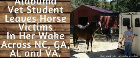 Alabama Vet Student Leaves Horse Victims In Her Wake Across NC GA AL and VA
